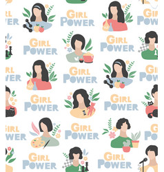 girl power seamless pattern in watercolor colors vector image