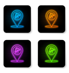 glowing neon map pointer with fast food slice vector image