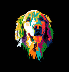 golden retriever dog pop art vector image