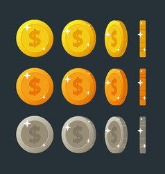 golden silver and bronze flat cartoon coins vector image vector image