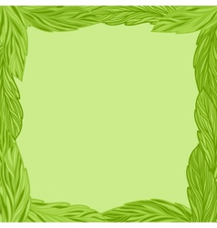 Green frame with tea leaves vector