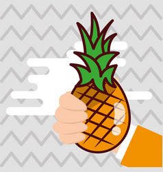 hand holding pineapple fresh colored background vector image