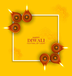 Happy diwali holiday background for light vector