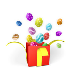 happy easter day background with easter eggs and vector image
