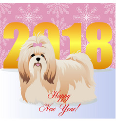 Happy new year card with shih tzu vector