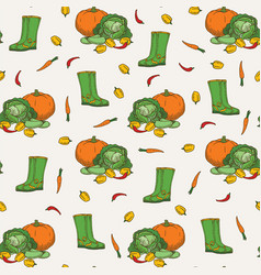 Harvest seamless pattern vector