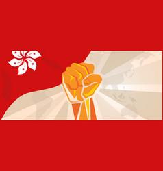 Hongkong flag hand fist activism revolution vector