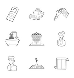 hostel service icons set outline style vector image