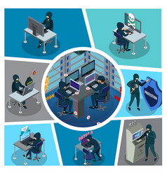 isometric hacker activity composition vector image