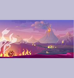 jurassic period landscape with volcano and meteor vector image
