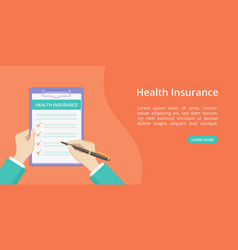 landing health insurance on clipboard with hands vector image