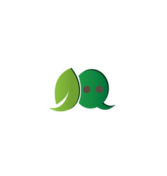 leaf and chat icon in an ecological dialog vector image
