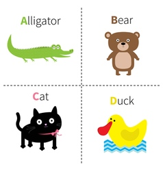 Letter A B C D Alligator Cat Bear Duck Zoo vector