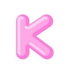 Letter k candy font caramel alphabet lollipop vector