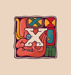 Letter x logo in aztec mayan or incas style vector