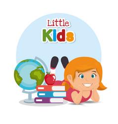 little schoolgirl with education supplies vector image