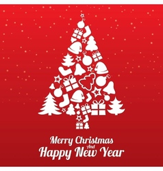 Merry Christmas greeting card Tree of flat icons vector image