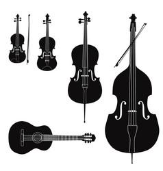 Music instruments set stringed musical instrument vector