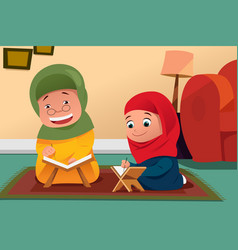 Muslim mother and daughter studying quran at home vector