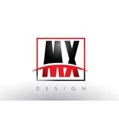 mx m x logo letters with red and black colors and vector image
