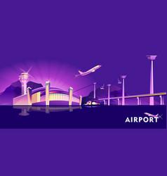 night neon airport vector image