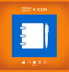 Notebook address phone book with pen symbol icon vector