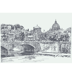 original sketch drawing rome italy cityscape vector image