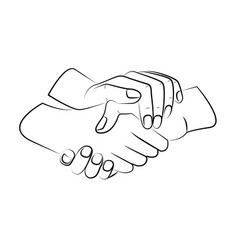 Outline three hands are intertwined together vector