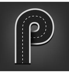 P letter road font vector