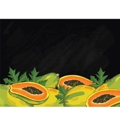 Papaya fruit composition on chalkboard vector