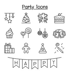 Party celebration new year birthday icon set in vector