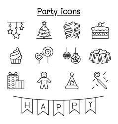party celebration new year birthday icon set vector image