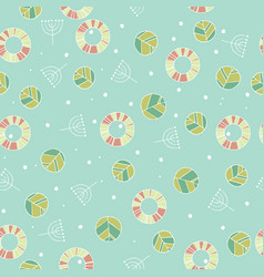 pattern with cute leaves in blue color vector image