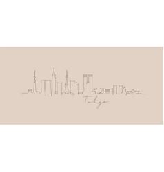 pen line silhouette tokyo beige vector image