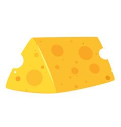 Piece swiss cheese flat vector