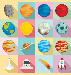 planets icon set flat style vector image
