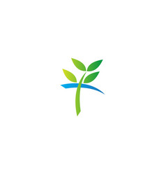 plant green leaf ecology logo vector image