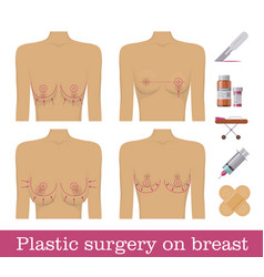 Plastic surgery breasts medical equipment vector