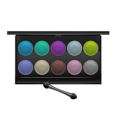 Realistic detailed color shadows palette cosmetic vector