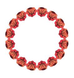 Round flowers decoration design vector