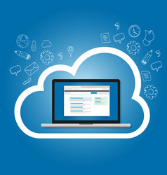 Saas software as a service on the cloud internet vector
