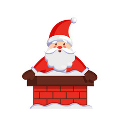 Santa claus in chimney icon vector