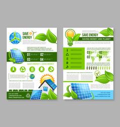 saving energy brochure template for eco design vector image