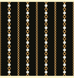 seamless pattern gold chain lines on black vector image