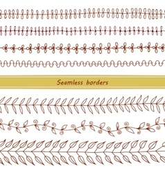 Set of Seamless Hand Drawn Borders vector image
