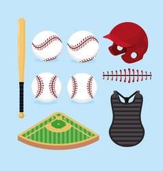 set professional baseball game with equipment vector image