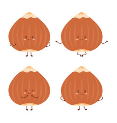 set with cute hazelnut characters nuts isolated vector image