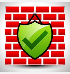 Shield with check-mark hanging on wall for it vector