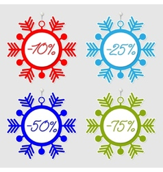 Snowflakes sale tags vector image