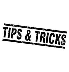 Square grunge black tips tricks stamp vector